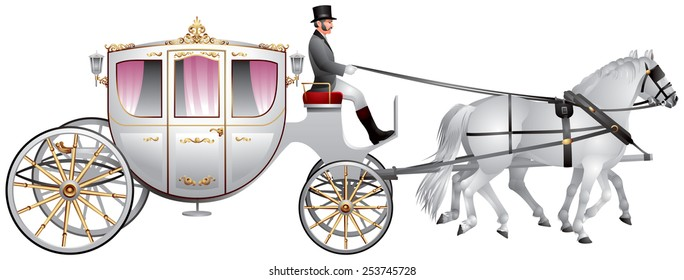 Carriage pulled by two white horses, horse-drawn wedding carriage realistic vector illustration