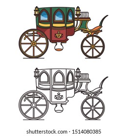 Carriage for queen or isolated icons of victorian princess chariot. Marriage waggon or wedding buggy, vintage stagecoach or classic dormeuse, wagon and cab, clarence or perth-cart. Romantic vehicle