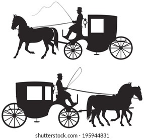 Carriage Silhouettes, 19th century London horse taxicab vector Silhouettes