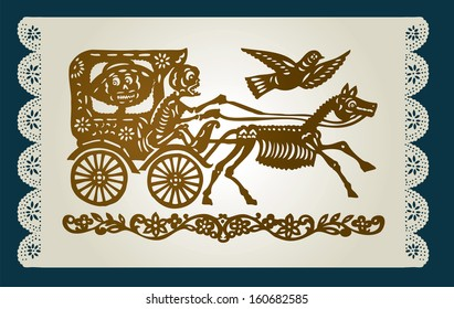 The carriage with the skeletons on the decorative background