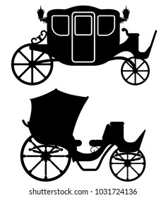 carriage for transportation of people black outline silhouette vector illustration isolated on white background