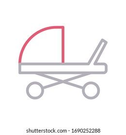 carriage vector color line icon