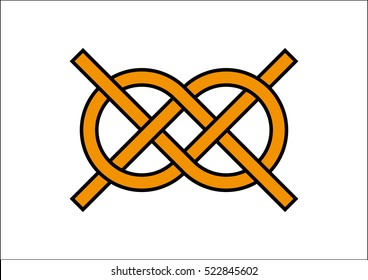 Carrick Bend. Carrick Bend knot illustration. Carrick Bend symbol