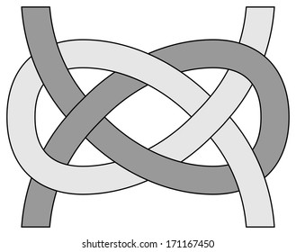 Carrick bend knot, vector illustration