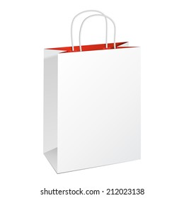 Carrier Paper Bag White Red. Illustration Isolated On White Background. Ready For Your Design. Product Packing Vector
