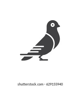 Carrier pigeon icon vector, filled flat sign, solid pictogram isolated on white. Dove symbol, logo illustration. Pixel perfect