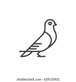Carrier pigeon line icon, outline vector sign, linear style pictogram isolated on white. Dove Symbol, logo illustration. Editable stroke. Pixel perfect