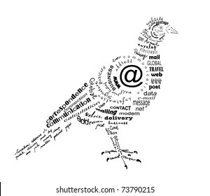 carrier pigeon made of words related to communication