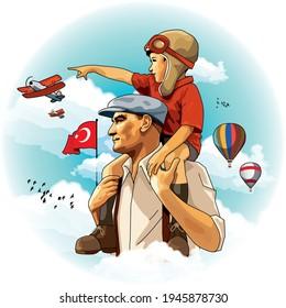 Atatürk carries the little boy on his shoulders - Shutterstock ID 1945878730
