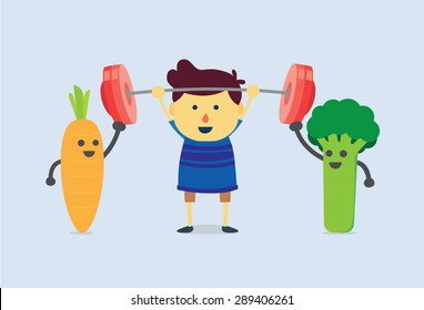 Carrot and Broccoli help kid to weight lifting. healthy and kid concept