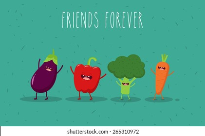Carrot, broccoli, pepper, eggplant cartoon vegetables illustration. Vector cartoon. Friends forever. ?omic characters.