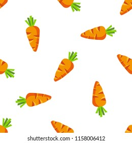 Carrot cartoon vector seamless pattern