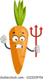 Carrot with devil spear, illustration, vector on white background.