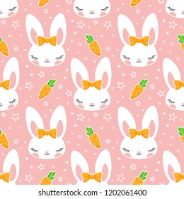 Carrot dreams. Cute pattern with rabbits, carrots and stars. Wonderful illustration for children's clothes, dishes and other surfaces.