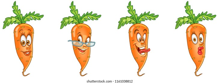 Carrot. Healthy Food concept. Emoji Emoticon collection. Cartoon characters for kids coloring book, colouring pages, t-shirt print, icon, logo, label, patch, sticker.