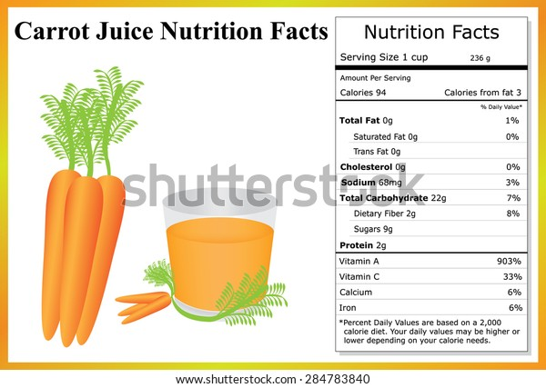 Carrot Juice Nutrition Facts Carrots Carrot Stock Vector Royalty