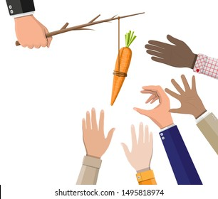 Carrot on a stick in hand. Motivation, stimulus, incentive and reaching goal concept metaphor. Fishing wooden stick with hanging carrot