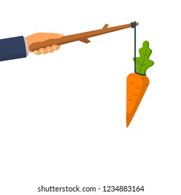 Carrot on a stick. Incentive concept. Business metaphor management and leadership. Big hand holds carrot. Motivate people. Vector illustration flat design. Isolated on white background.