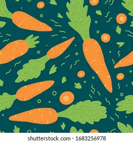 Carrot pattern seamless. Vector illustration for background, print, texture. Carrot have abstract, simple cartoon, hand drawn style.