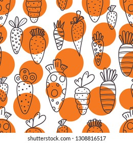 Carrot seamless pattern for Easter. Linear carrots and orange polka dots. Endless pattern can be used for ceramic tile, wallpaper, linoleum, textile, web page background
