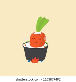Carrot in a soup pot