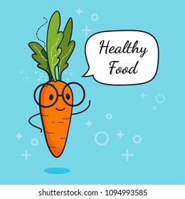 Carrot with speech bubble. Balloon sticker. Cool vegetable. Vector illustration. Carrot clever nerd character on a blue background. Healthy food concept. Smart vegan diet poster
