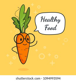 Carrot with speech bubble. Balloon sticker. Cool vegetable. Vector illustration. Carrot clever nerd character on a yellow background. Healthy food concept. Smart vegan diet poster