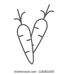 Carrot thin line icon, food and vegetable, root sign, vector graphics, a linear pattern on a white background, eps 10.