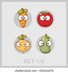 Carrot, turnips, zucchini, tomato. A set of funny vegetables. Vector illustration on a theme of vegetables in the cartoon style.