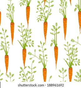 Carrots Freehand Drawing Seamless Pattern. Pattern background carrots scribble illustration. Vector EPS8.