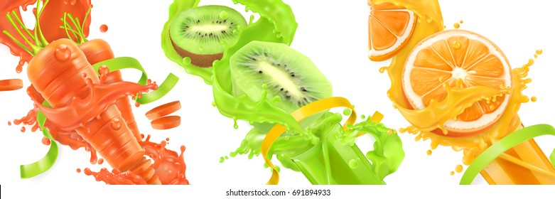 Carrots, kiwi, orange splash of juice. Healthy food, sports and fitness. Natural fruit and vegetables. 3d realistic vector icon set