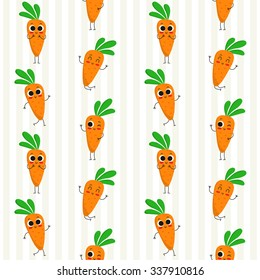 Carrots, vector seamless pattern with cute vegetable characters on stripy background