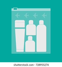 Carry on liquid bottles in a transparent plastic bag with plane signs vector illustration