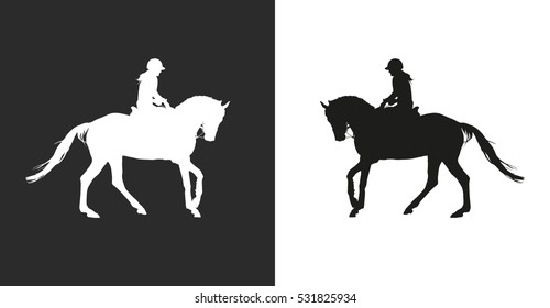 Carrying out horse with horsewoman vector.