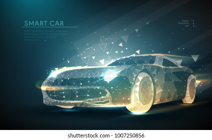 Cars. Abstract image of a sport car in the form of a starry sky or space, consisting of points, lines, and shapes in the form of planets, stars and the universe. Cars vector wireframe concept.