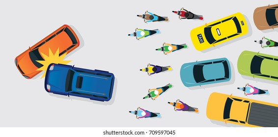 Cars Accident with Traffic Jam Top or Above View, Road, Street, Highway and Transportation