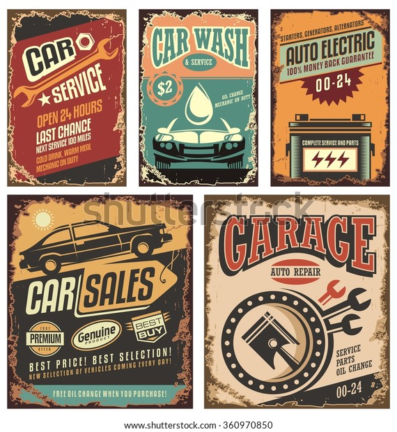 Cars Ads Banners Retro 20th Century Stock Vector Royalty Free