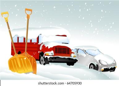 Cars after snowfall