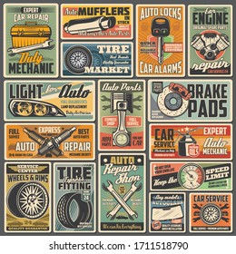 Cars auto service and mechanic garage station, vector vintage retro posters. Automotive diagnostic, engine repair, tire fitting and pumping, vehicle mufflers, brake pads and spare parts shop