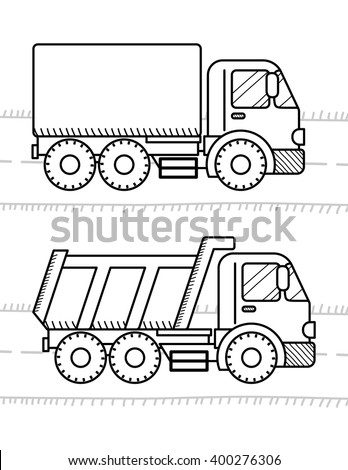 Cars Coloring Book Kids Dump Truck Stock Vector Royalty Free