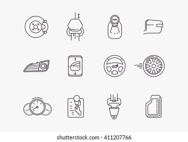 Cars complectation line icons. Automobile items. Thin line art design.