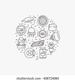 Cars complectation line icons set circular shaped. Automobile items. Thin line art design.