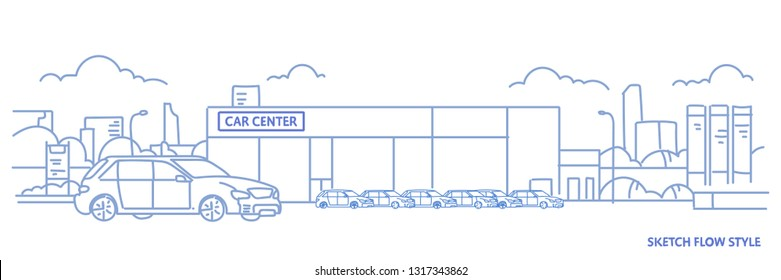 cars dealership center showroom building exterior with new modern vehicles cityscape background sketch flow style horizontal banner