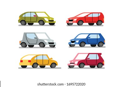 cars of different colors on a white background