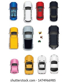 cars of different colors and people - top view