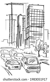 Cars drive along the road against the background of houses and cranes under construction. Black and white linear sketch.
