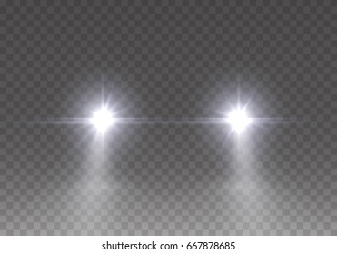 Cars flares light effect. Realistic white glow round car headlight beams isolated on transparent gloom background. Vector bright train lights for your design.