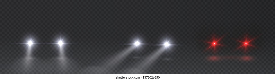 Cars flares light effect set. Realistic white glow round car headlight beams isolated on transparent background. Vector bright train lights front view for your design.