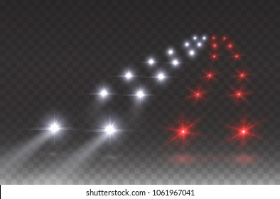 Cars flares traffic road light effect. White red glow car headlight beams isolated on transparent gloom background. City rush hour driving template. Vector peak time highway lights for urban design.