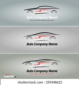 Cars in the form of lines of silhouette, in movement. Car logo design. eps 8